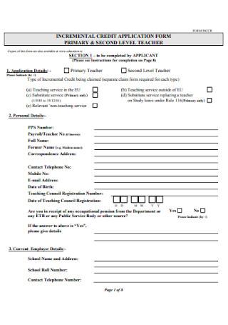 Incremental Credit Application Form