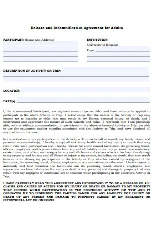 Indemnification Agreement for Adults