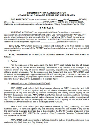 Indemnification Agreement for Commercial