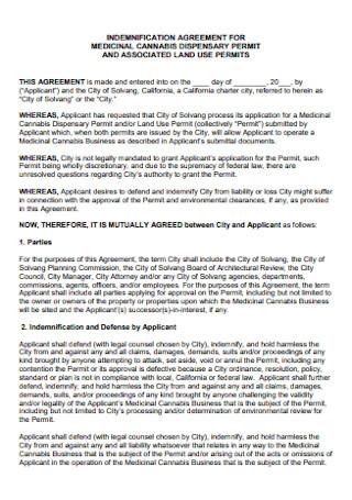 Indemnification Agreement for Medicinal