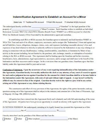 Indemnification Agreement for Minor