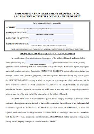 Indemnification Agreement for Village Property