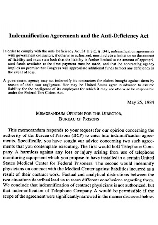 Indemnification Agreements and the Anti Deficiency