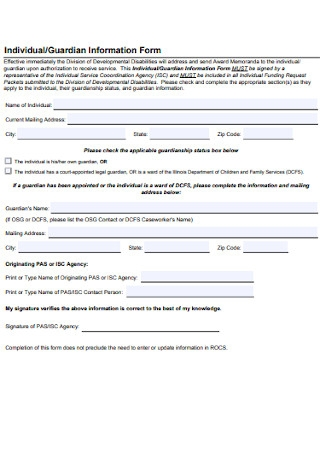 Individual and Guardian Information Form