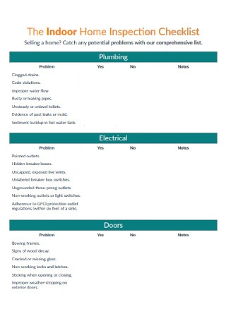 Indoor Home Inspection Checklist
