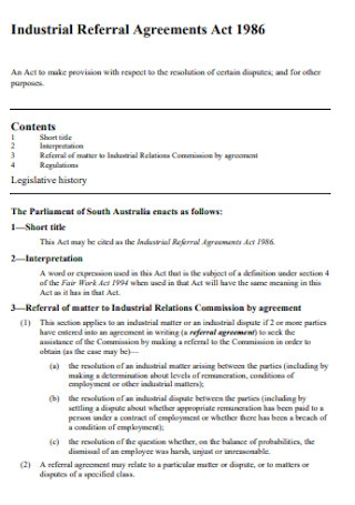 Industrial Referral Agreements