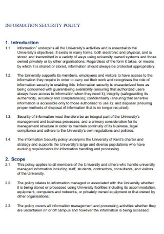 Information Security Policy Format