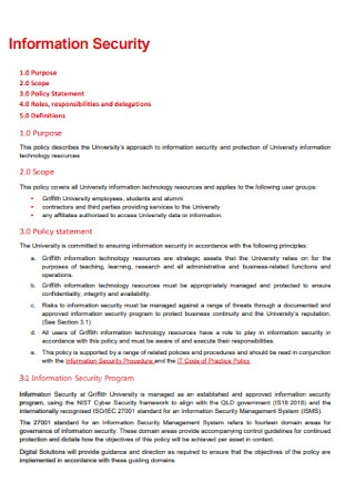Information Security Policy Statement
