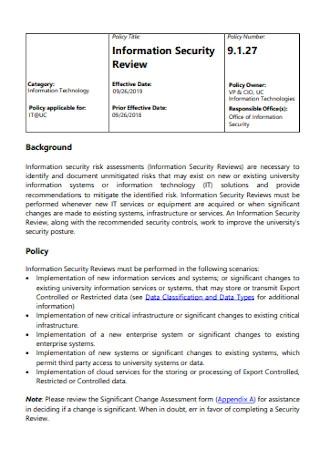 Information Security Review Policy