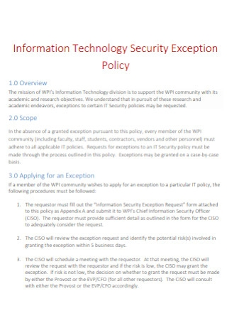 Information Technology Security Exception Policy
