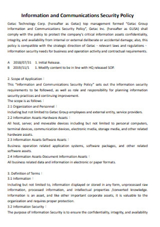 Information and Communications Security Policy