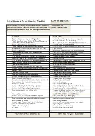 Initial House Condo Cleaning Checklist