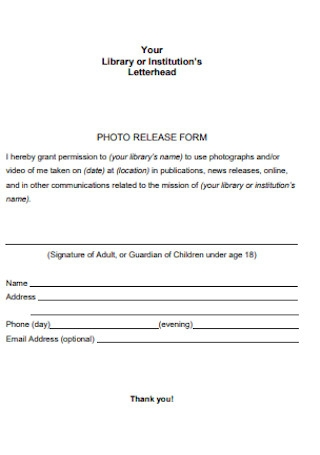 Institution Photo Release Form