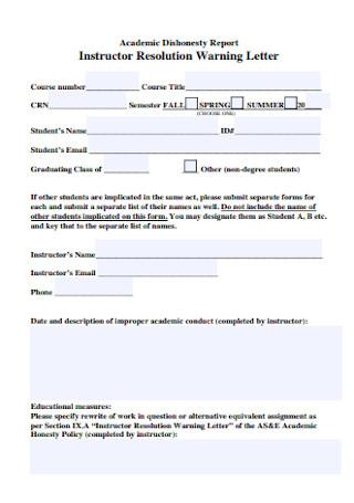 Instructor Resolution Warning Letter