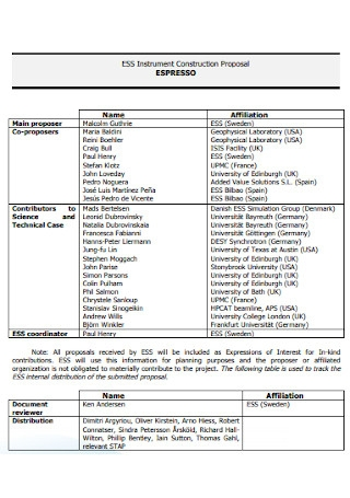 Instrument Construction Proposal