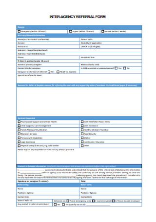 Inter Agency Referral Form
