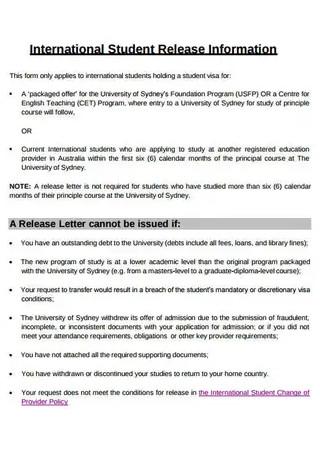 International Student Release Letter