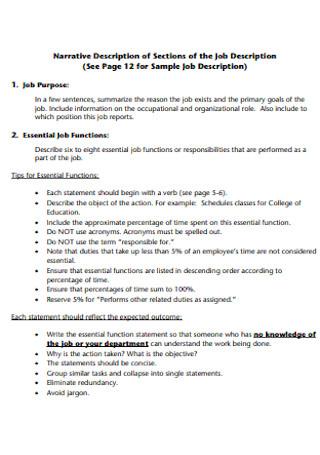 Job Narrative Description