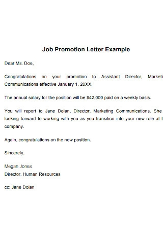 Job Promotion Letter Example