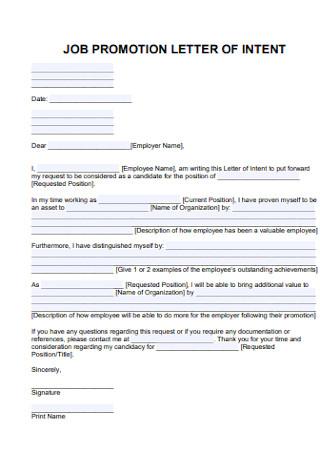 Job Promotion Letter of Intent