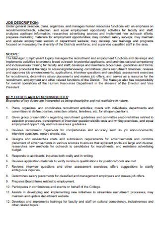 Junior College Job Discription