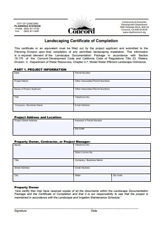 Landscaping Certificate of Completion