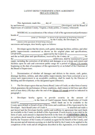 Latent Defect Indemnification Agreement