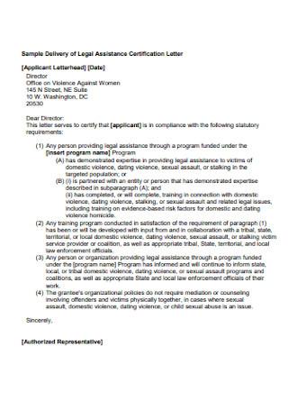 Legal Assistance Certification Letter