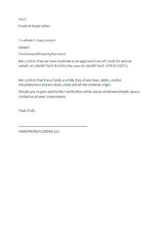 Lender Proof of Funds Letter