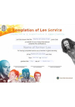 Leo Completion of Service Certificate