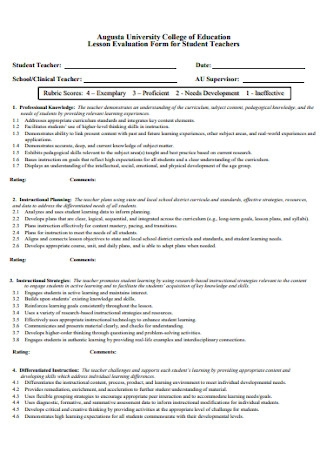 Lesson Evaluation Form for Teachers