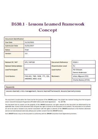 Lessons Learned Framework Example