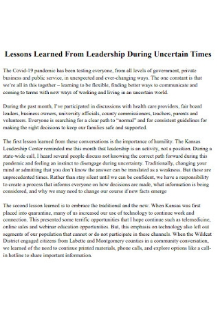Lessons Learned From Leadership