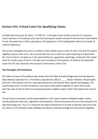 Letter For Qualifying Claims