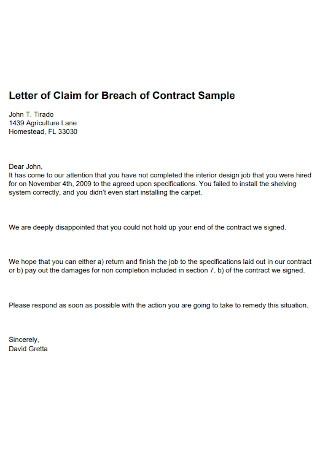Letter of Claim for Breach of Contract