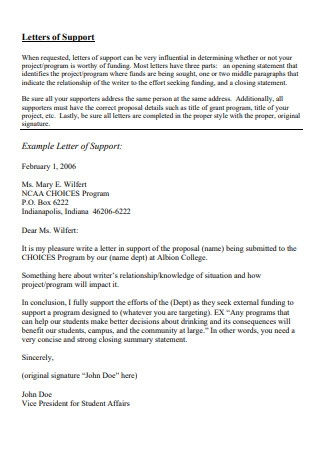 Letter of Support Template