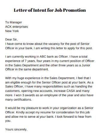 Letter ofIntentfor Job Promotion