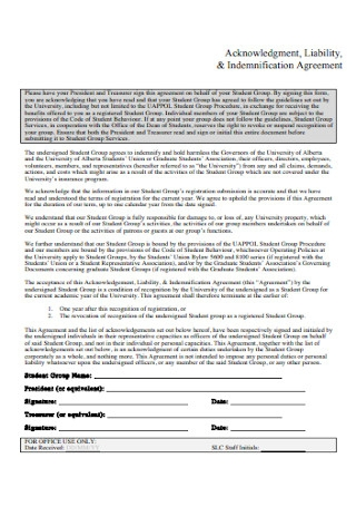 Liability Indemnification Agreement
