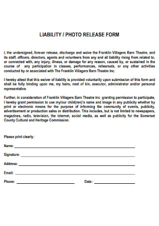 Liability Photo Release Form