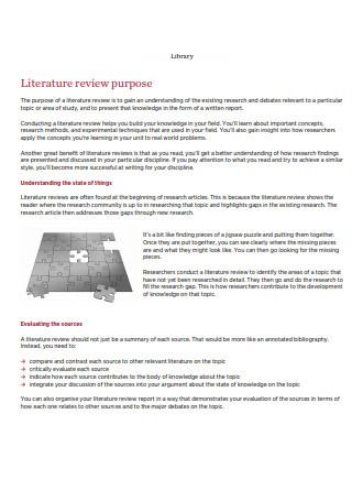 Literature Review Purpose
