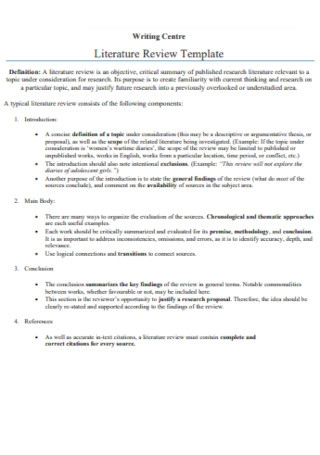 Literature Review Template