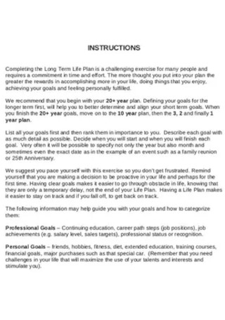 Long Term Five Year Plan