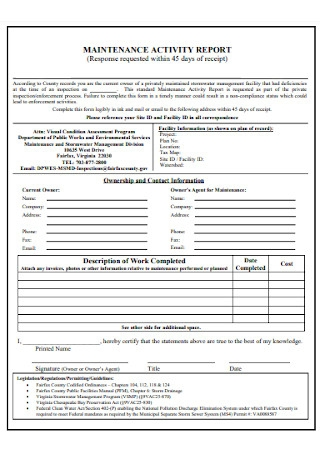 Maintenance Activity Report Form