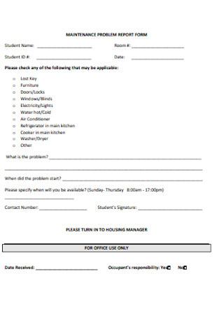 Maintenance Problem Report Form