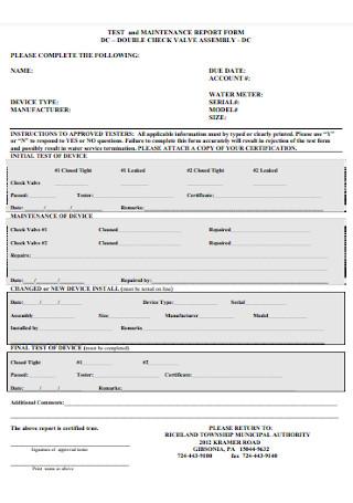 Maintenance Report Form Format