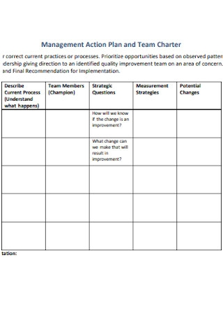 Management Action Plan and Team Charter