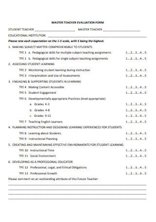 Master Teacher Evaluation Form