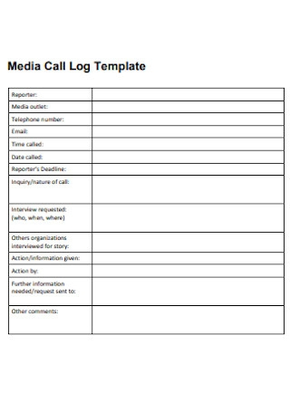 Media Call Log Template