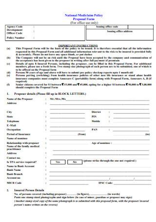 Mediclaim Policy Proposal Form