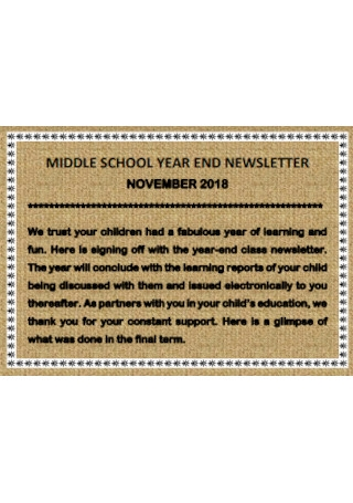 Middle School Year End Newsletter